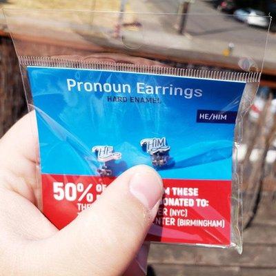 Microcosm He/Him Pronoun Hard Enamel Earrings