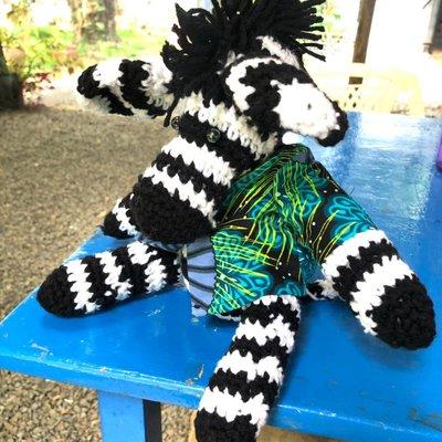 Creation Hive Crocheted Zebra Stuffed Animal