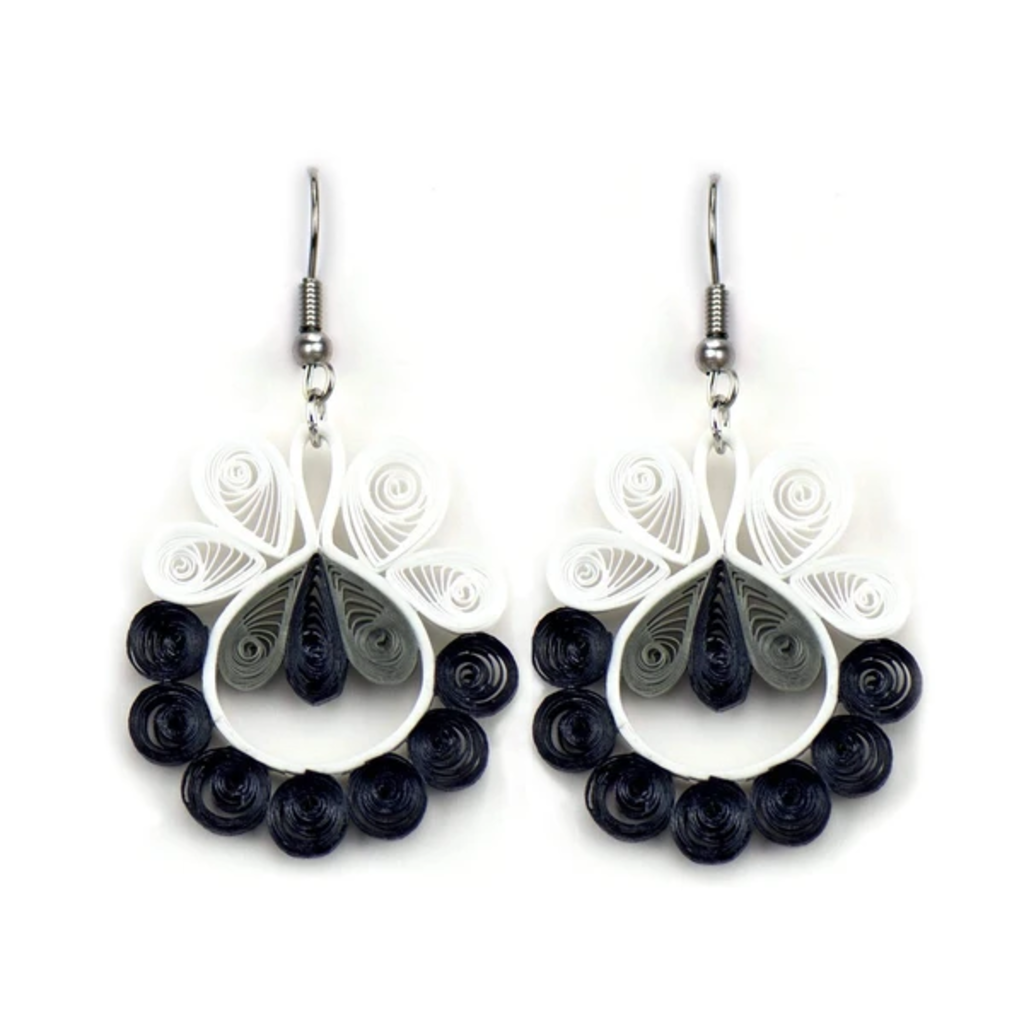 Quilling Card Black Bumble Swirl Quilled Earrings