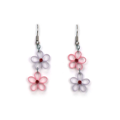 Quilling Card Pastel Flower Drop Quilled Earrings