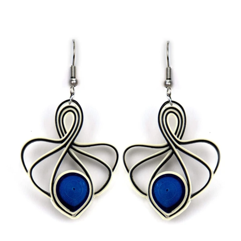 Quilling Card Sapphire Lotus Swirl Quilled Earrings