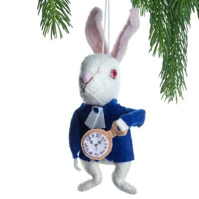 Silk Road Bazaar White Rabbit Felt Ornament