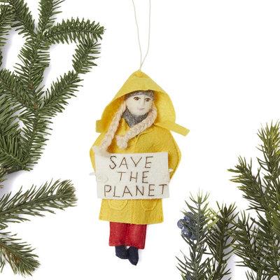 Silk Road Bazaar Greta Thunberg Felt Ornament: Save the Planet