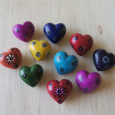 Venture Imports Tiny Colorful Patterned Soapstone Heart Rocks
