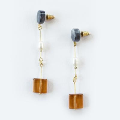 Mata Traders Cubist Dangle Amber Earrings