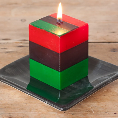 Thumbprint Artifacts Kwanza Painted Cube Candle