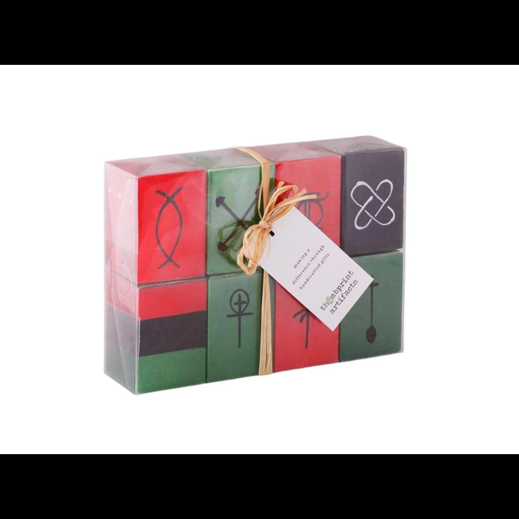 Thumbprint Artifacts Kwanza Painted Cube Candle Set