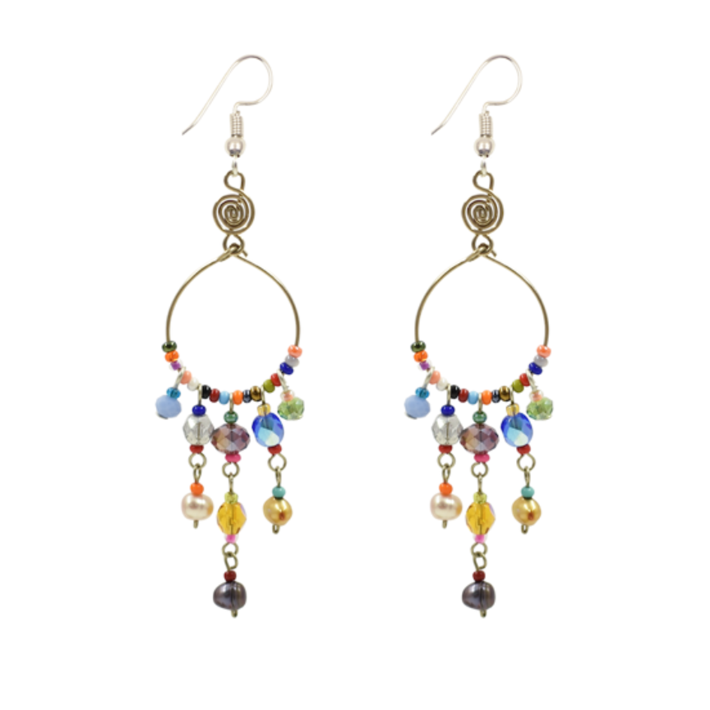Unique Batik Santorini Earrings: Multicolor