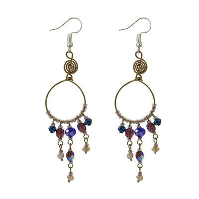 Unique Batik Santorini Earrings: Purple