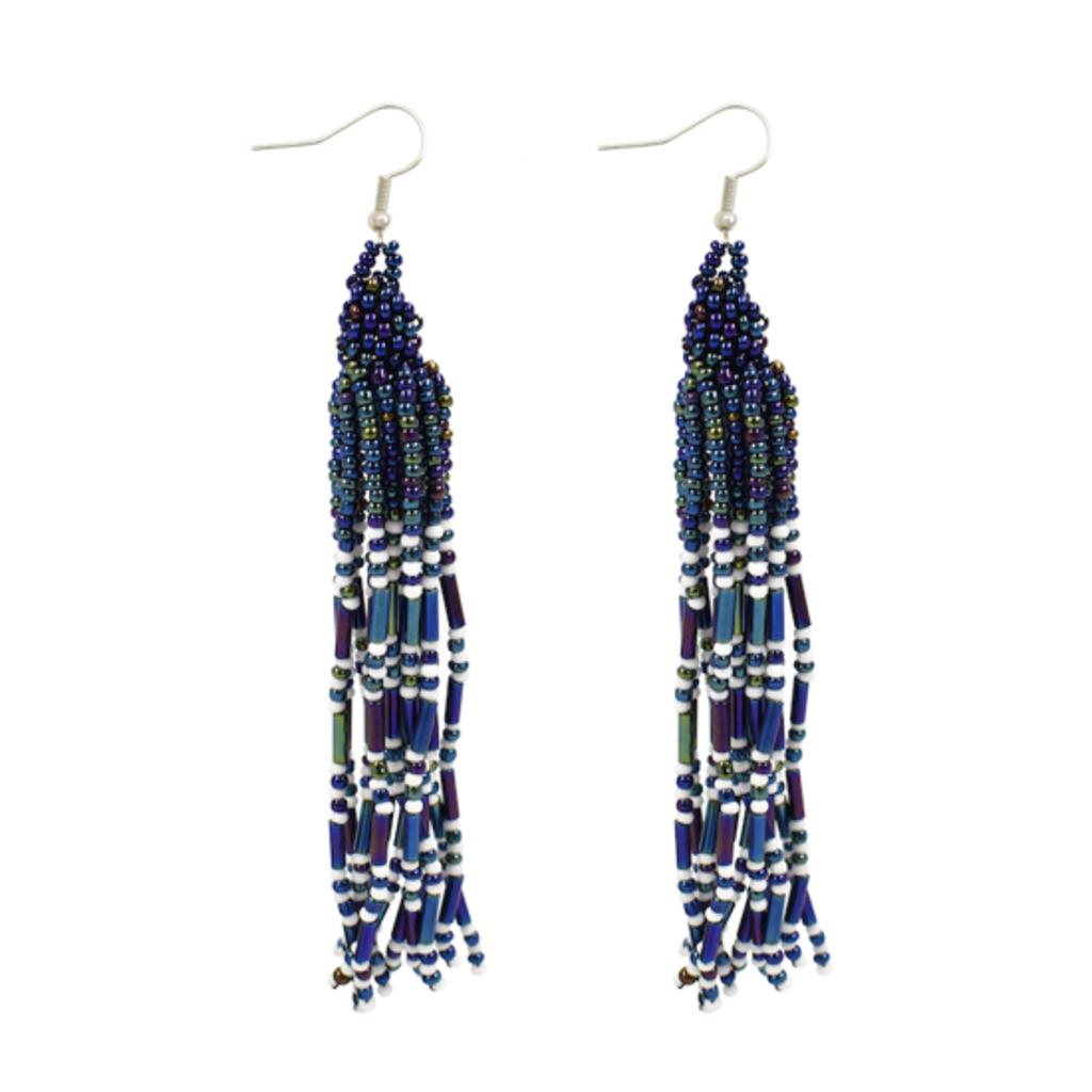 Unique Batik Jellico Earrings: Blue