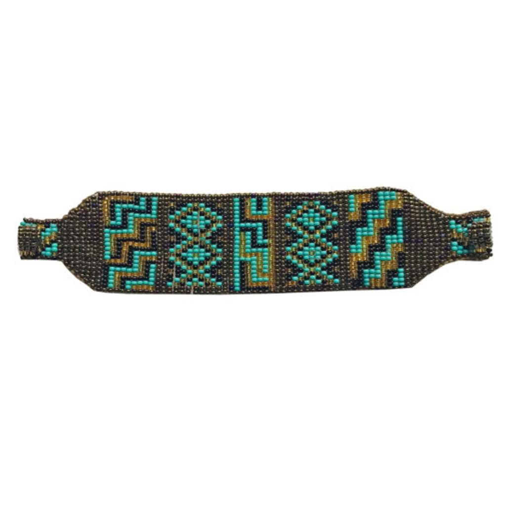 Unique Batik Nativa Bracelet: Gold and Turquoise