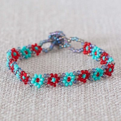 Lucia's Imports Beaded Flower Bracelet