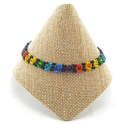 Lucia's Imports Beaded Rainbow Flower Bracelet
