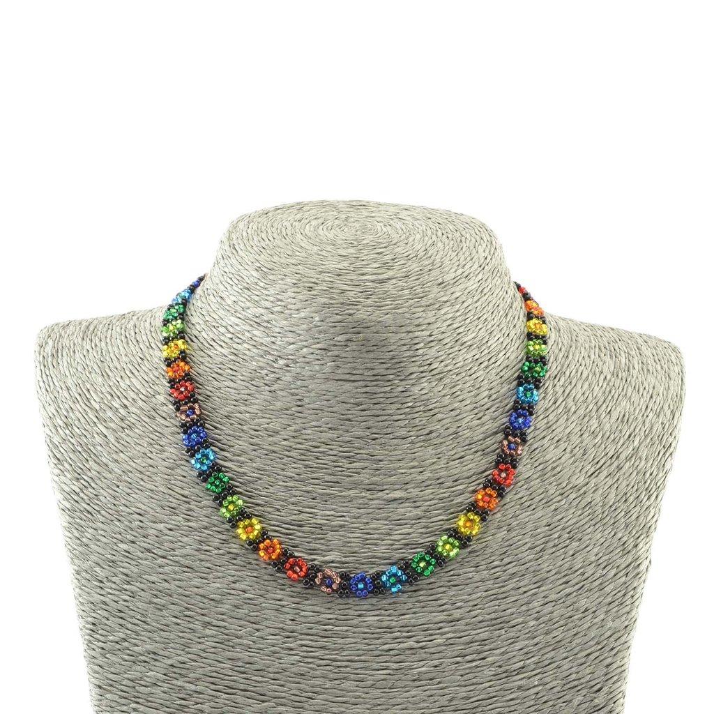 Lucia's Imports Beaded Rainbow Flower Choker Necklace