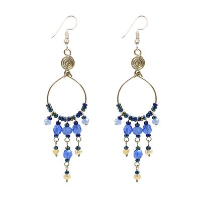 Unique Batik Santorini Earrings: Blue