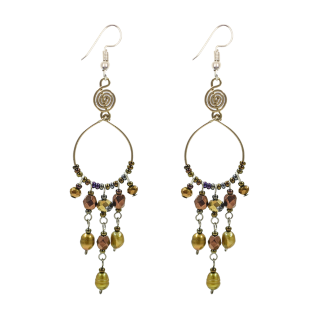 Unique Batik Santorini Earrings: Bronze