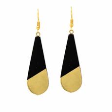 Global Crafts Brass & Black Horn Teardrop Earrings