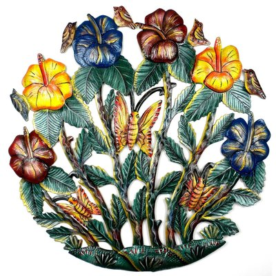 Global Crafts Flower & Butterfly Garden Painted Drum Art