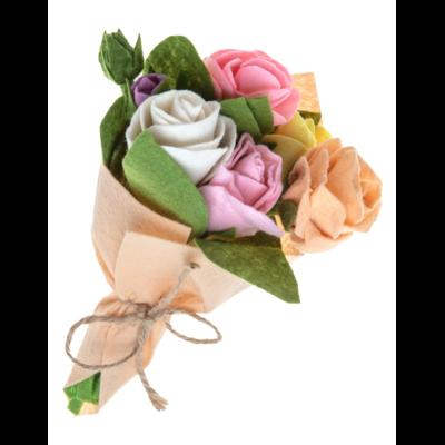 Silk Road Bazaar Rose Felted Wool Flower Bouquet