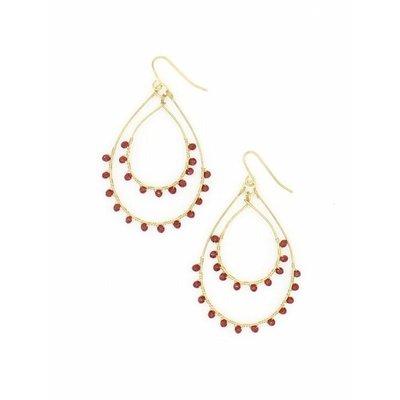 Fair Anita Ruby Sparkle Brass Teardrop Earrings