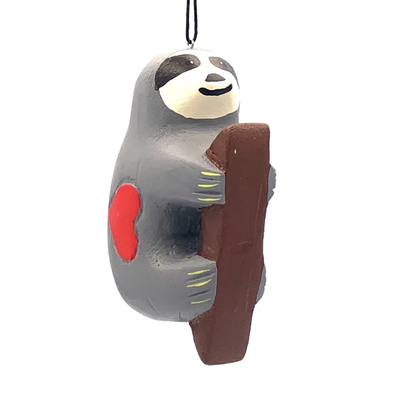 Women of the Cloud Forest Sloth with Heart Balsa Wood Ornament