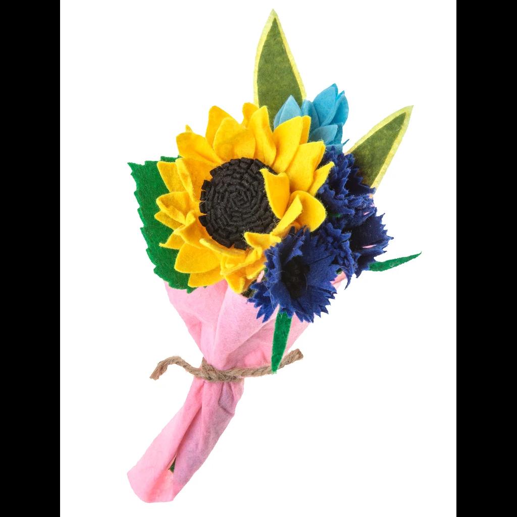 Silk Road Bazaar Sunflower Felted Wool Flower Bouquet