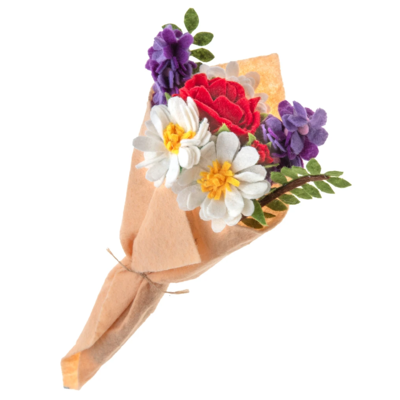 Silk Road Bazaar Wildflower Felted Wool Flower Bouquet
