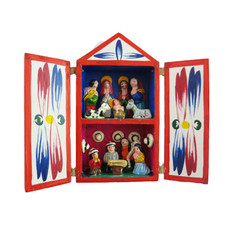 Inter-American Trading Two Floor Wood Box Retablo Nativity Large