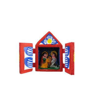 Inter-American Trading Wood Box with Retablo Nativity XSmall