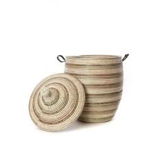 Swahili Imports Medium Laundry Basket: Black Silver & White