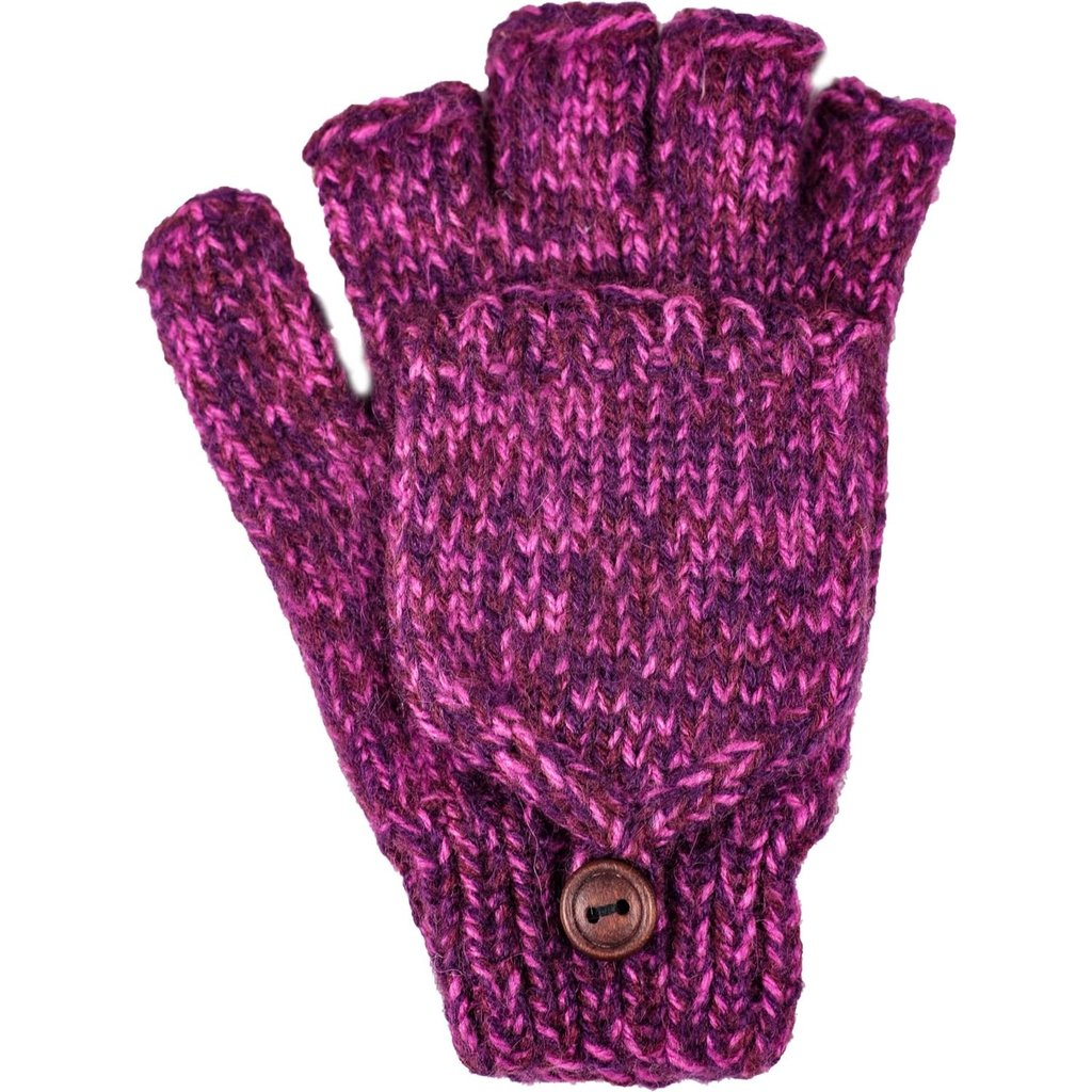 Andes Gifts Blended Knit Glittens: Berry
