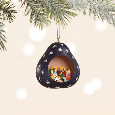 Serrv Night Sky Nativity Gourd Ornament