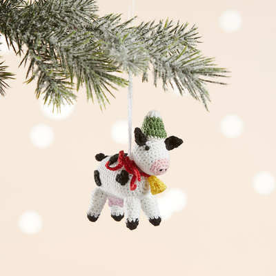 Serrv Barnyard Cow Knit Ornament