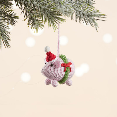 Serrv Barnyard Pig Knit Ornament