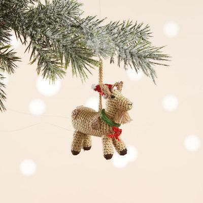 Serrv Barnyard Goat Knit Ornament