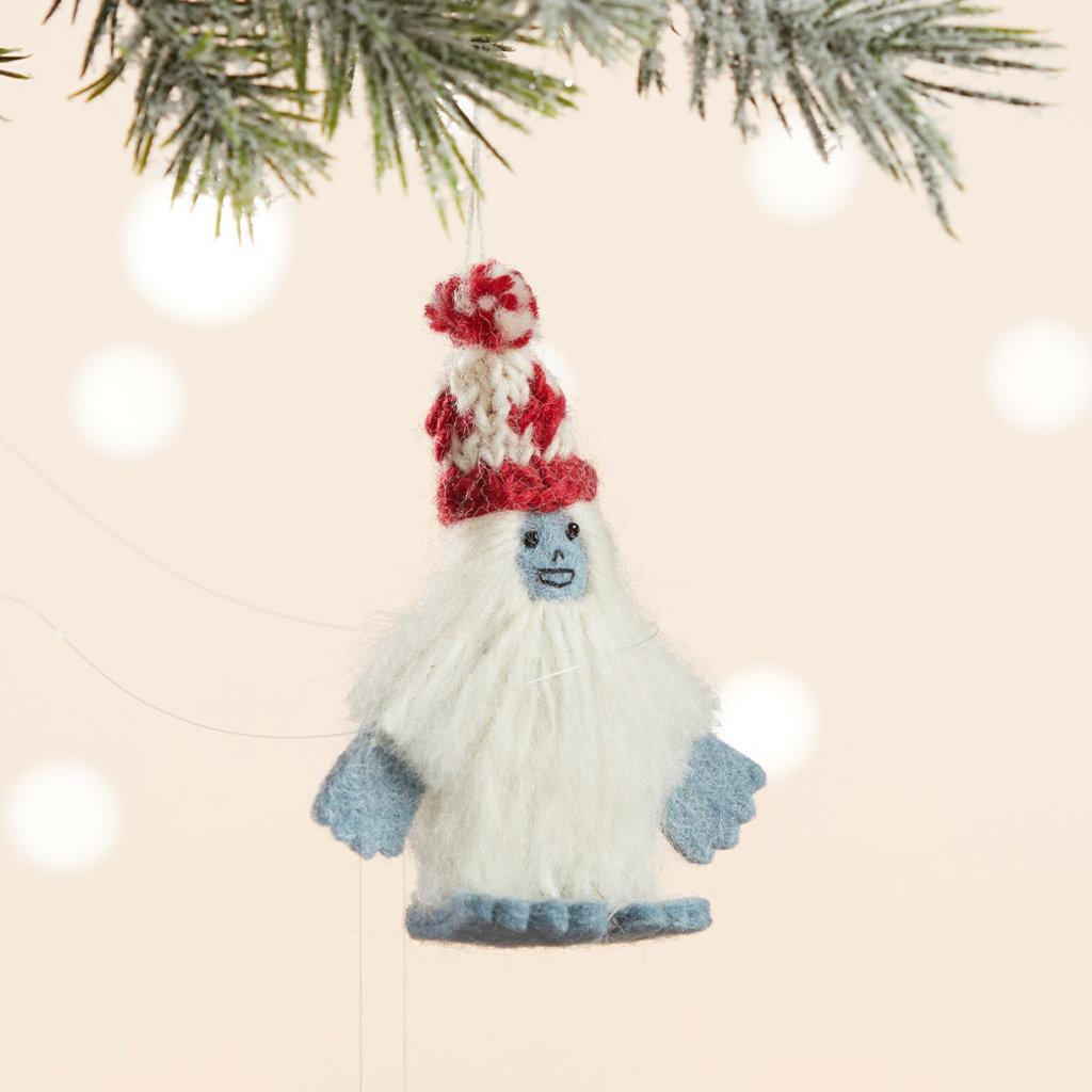 Serrv Abominable Snowperson Felt Wool Ornament