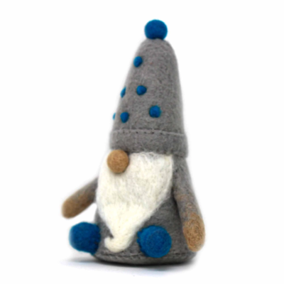 Global Crafts Winter Blues Seated Felt Gnome