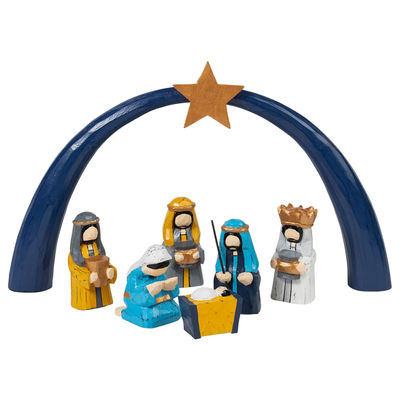 Ten Thousand Villages Blue & Gold Painted Wood Arch Nativity