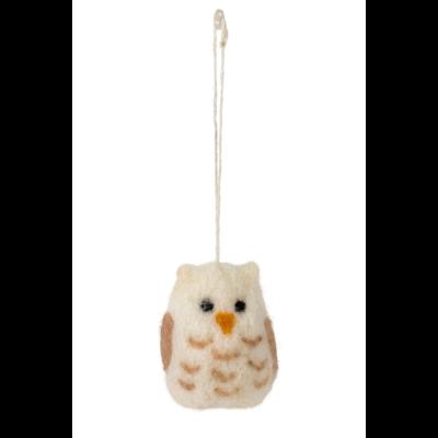 Ten Thousand Villages Little Snow Owl Felted Wool Ornament