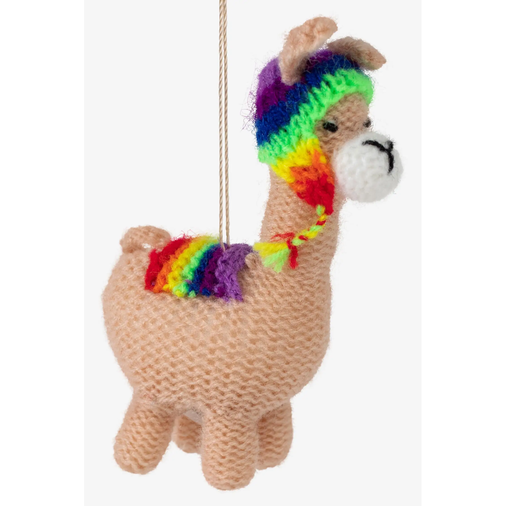 Ten Thousand Villages Llama with Hat Knit Ornament