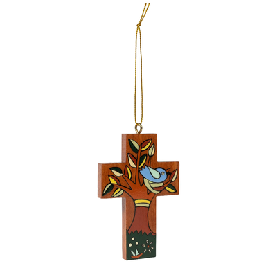 Ten Thousand Villages Bird in the Tree Wood Cross Ornament