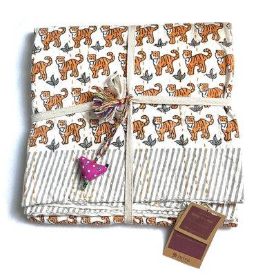 Mira Fair Trade Kantha Stitched Baby Blanket: Tigers 40x40