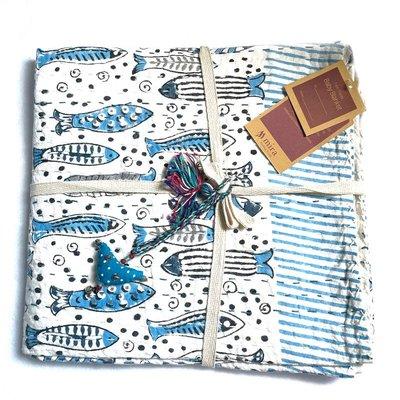 Mira Fair Trade Kantha Stitched Baby Blanket: Blue Fish 40x40
