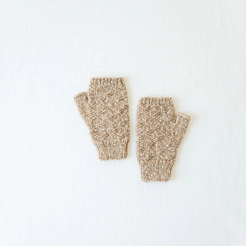 Andes Gifts Pacha Alpaca & Cotton Wrist Warmers: Almond