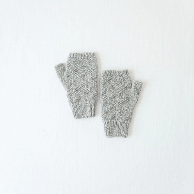 Andes Gifts Pacha Alpaca & Cotton Wrist Warmers: Grey