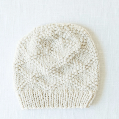 Andes Gifts Pacha Alpaca & Cotton Knit Hat: Cream