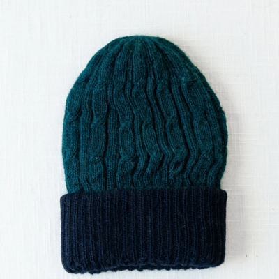 Andes Gifts Reversible Alpaca Cable Hat: Jade