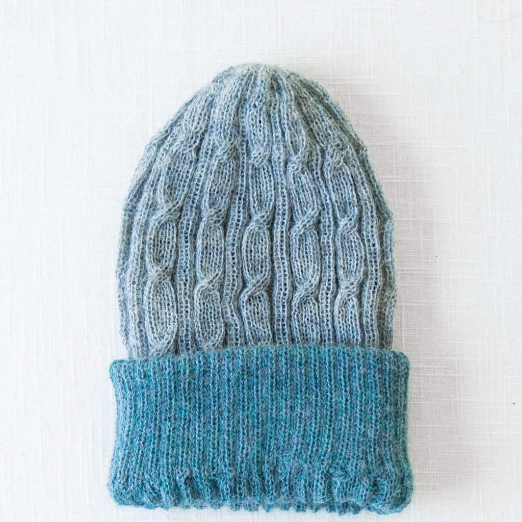 Andes Gifts Reversible Alpaca Cable Hat: Powder Blue