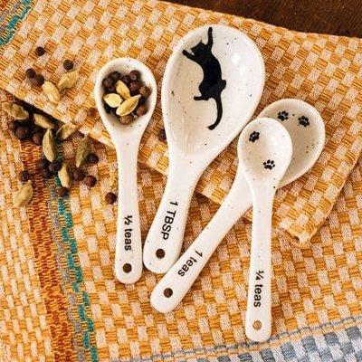 Ten Thousand Villages Kitty Prints Ceramic Measuring Spoon Set