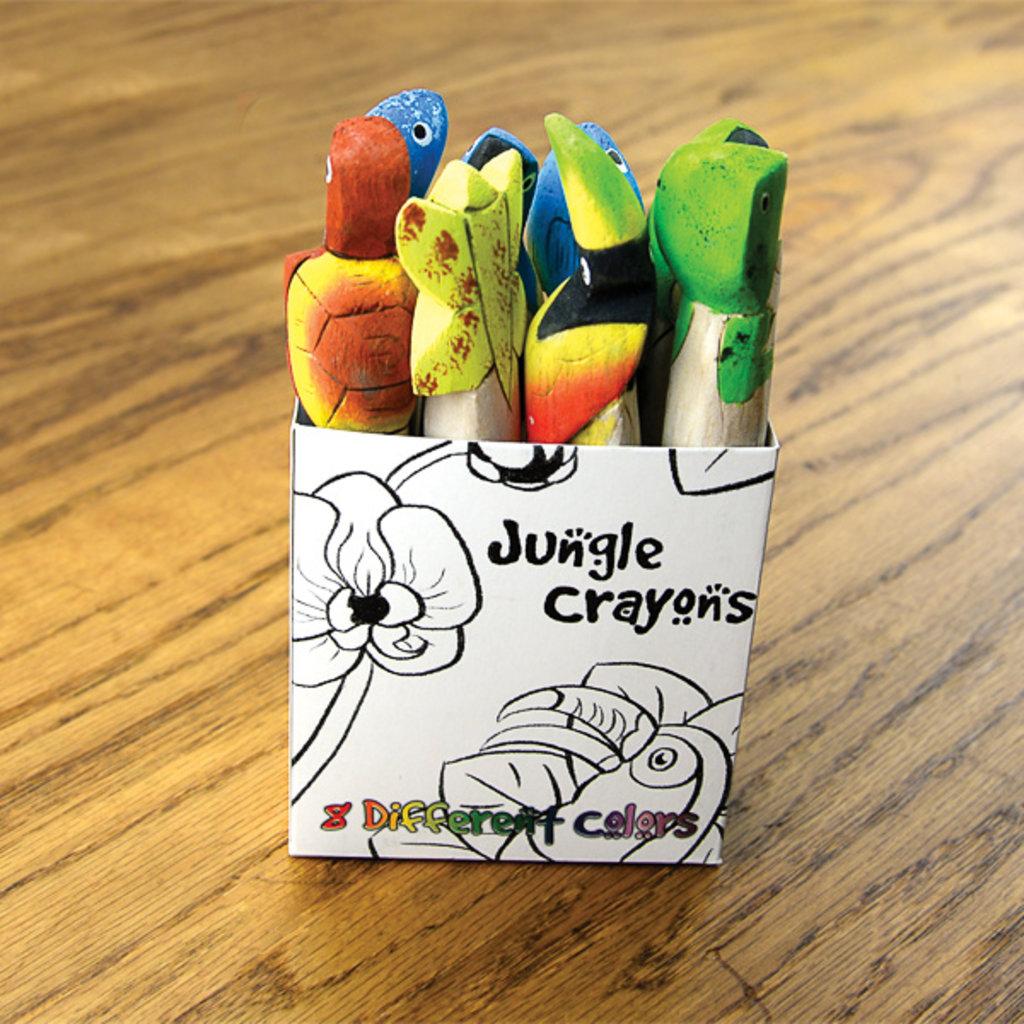 Minga Imports Carved Animal Balsa Wood Crayons - 8 Pack